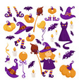 halloween party costume witch and pumpkins girl vector image