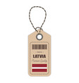 hang tag made in latvia with flag icon isolated on vector image vector image