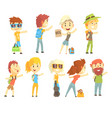 hitch hike traveler person set for label design vector image