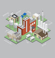 industrial buildings isometric infographic set vector image vector image