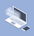 isometric laptop and opened windows - software vector image vector image