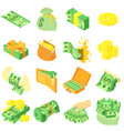 money coin dollar icons set isometric style vector image vector image