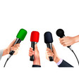 professional microphones hands realistic vector image