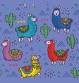 seamless pattern with alpaca and cactuses vector image vector image