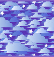 seamless pattern with blue 3d clouds and stars vector image