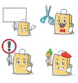 set of bag character with bring board sign barber vector image vector image