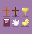 set of catholic religious icons vector image