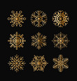 set of golden snowflakes vector image vector image