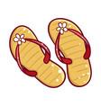 summer season slates icon rubber female footwear vector image