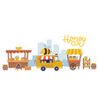 sweet honey food market with many stalls and vector image