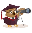 Teacher owl looks through telescope vector image vector image