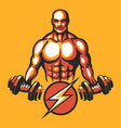 training bodybuilder emblem vector image