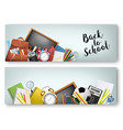 two back to school banners with supplies tols vector image