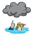 donald trump under the black cloud smog cartoon vector image