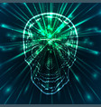 a human skull with green rays the science vector image