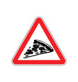 attention pizza dangers of red road sign fast vector image vector image