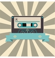 audio cassette tape over striped background and vector image vector image