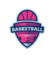 basketball college league vintage label vector image vector image
