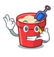 call me sand bucket mascot cartoon vector image vector image