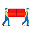 cartoon characters two porters carry sofa vector image
