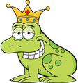Cartoon frog wearing a crown vector image