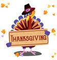 cartoon thanksgiving turkey character in hat vector image vector image