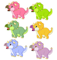 Cartoon triceratops in different color vector image vector image