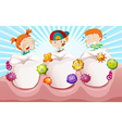Children with dirty teeth vector image vector image