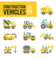 construction vehicle and transport flat icons vector image vector image