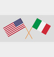 crossed flags usa and italy vector image vector image