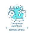 Cutting edge patient care concept icon