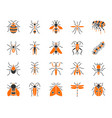 danger insect simple color flat icons set vector image