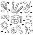 doodle various candy hand draw vector image vector image