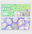 Easter banners with 3d ornate eggs on green and vector image