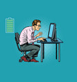 energy for work office businessman at computer vector image vector image