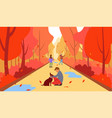 family in autumn a happy family in autumn vector image vector image
