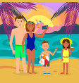 father mother son daughter on summer vacation vector image vector image