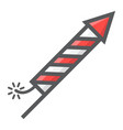 fireworks rocket filled outline icon new year vector image