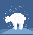 flat a hand-drawn polar bear standing on vector image vector image