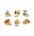 flat set emblems related to summer vector image