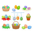 flat set of decorative easter compositions vector image vector image