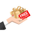 free delivery icon with cardboard package in hand vector image