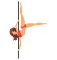 girl dancing with a pole in red bikini dance on vector image vector image