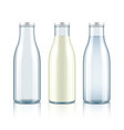 Glass bottle with milk water and empty vector image