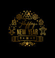 gold new year banner with line icons vector image vector image