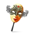 golden full face ornate carnival mask with vector image vector image