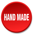 hand made red round flat isolated push button vector image vector image