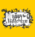 happy halloween banner on yellow vector image vector image