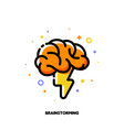 icon with human brain and lightning vector image