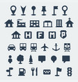 isolated map icons set vector image